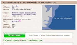 Facebook dáta na PirateBay.org